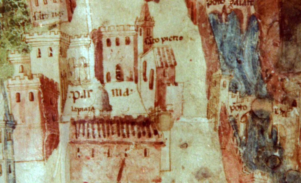 01.01 - La Piazza Grande di Parma, sede del mercato settimanale, e lo spazio libero della Ghiaia in un particolare di una pianta manoscritta del 1460