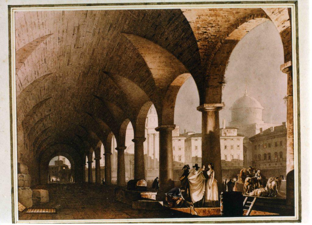 01.06 - GIUSEPPE BERTOLUZZI, Portico dei Mercanti a Parma 1829 ca.- Parma, Collezione privata