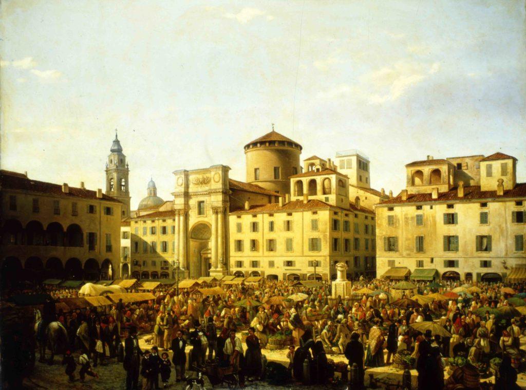01.07 - GIULIO CARMIGNANI, La piazza di Parma in giorno di mercato, 1848 - Parma, Collezione privata - MEDIA