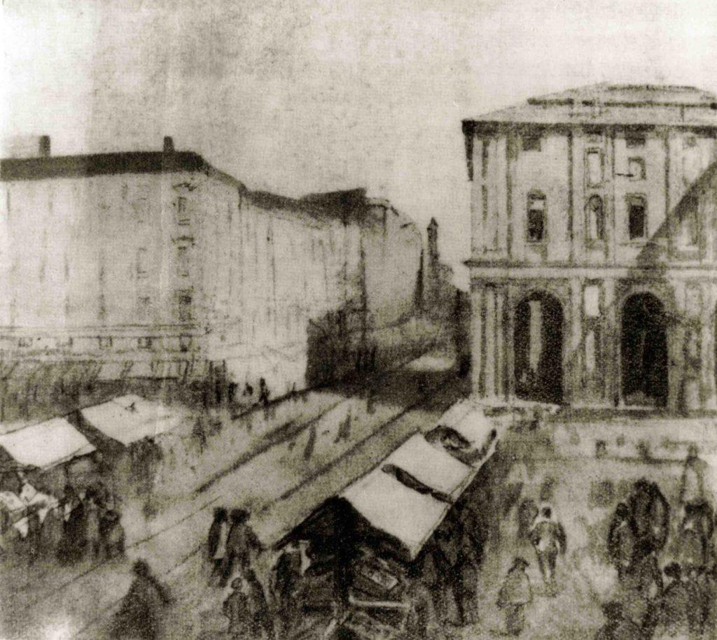 01.10 - PAOLO BARATTA, Piazza Grande con mercato, 1851