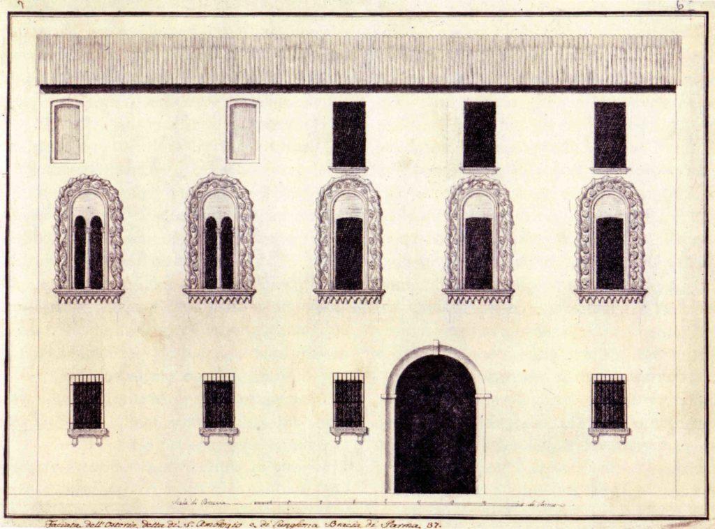 03.06 - ALESSANDRO SANSEVERINI, Facciata dell'antica osteria di S. Ambrogio - Parma, Archivio di Stato