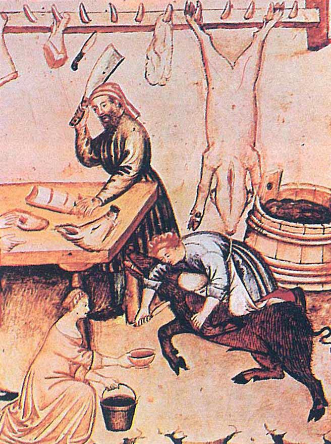 05.04 - L'uccisione e la macellazione del maiale in una illsutrazione del Theatrum Sanitatis