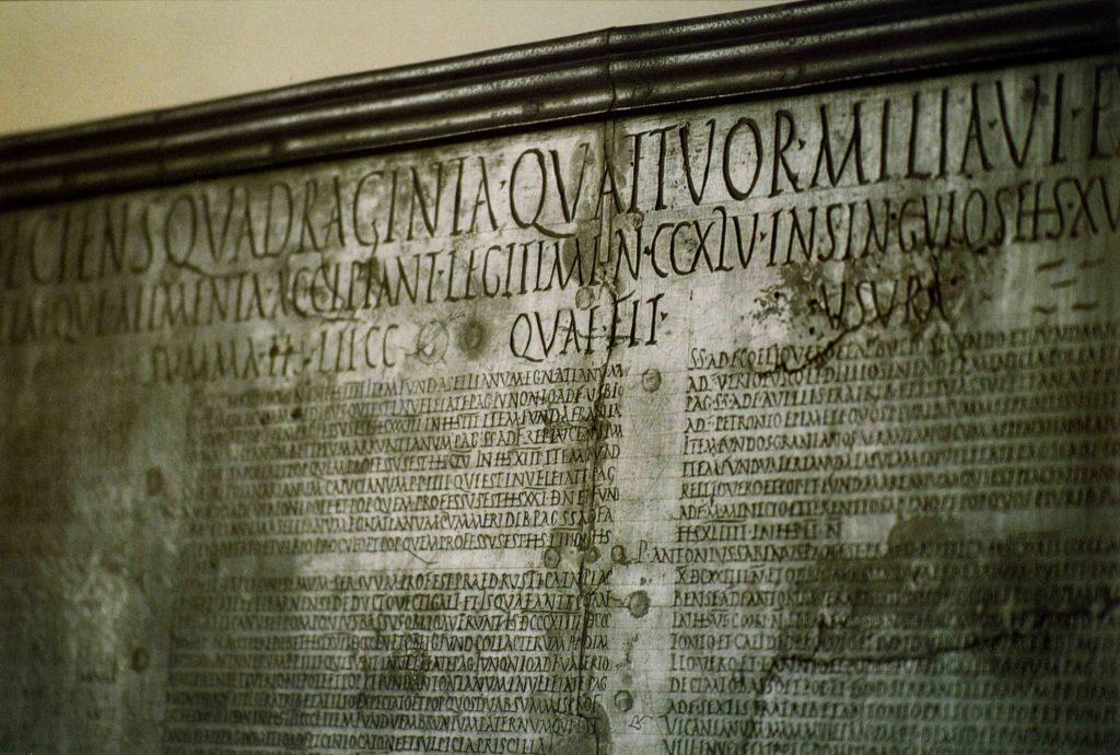 13.03 - Tabula alimentaria Traianea - Parma, Museo Archeologico Nazionale