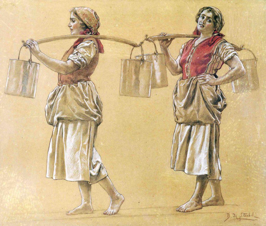21.04 - Daniele de Strobel (1873-1942),  - Le portatrici di latte. Bozzetto per la sala del Consiglio della Camera di Commercio, pastello su cartone, 1925 (Soragna, Museo del Parmigiano Reggiano)
