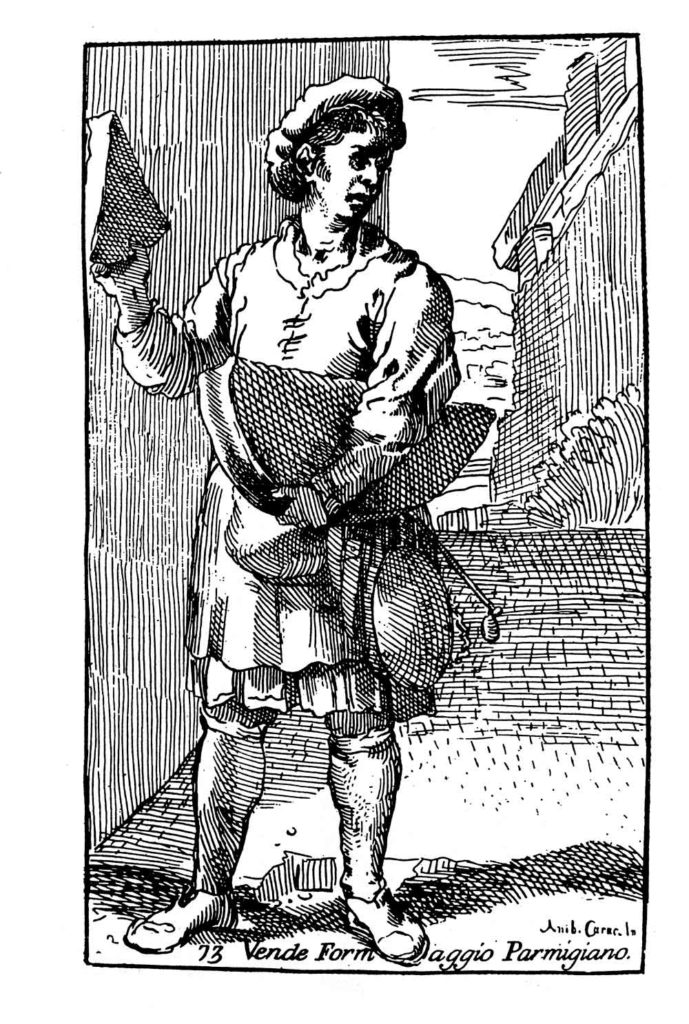 WEB24.03---A.-CARRACCI-(1560-1609),-Venditore-di-Parmigiano,-incisione,-1646-(Soragna,-Museo-Parmigiano)