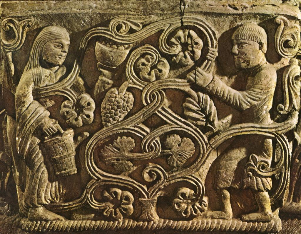 Parma, Cattedrale, navata di destra - capitello dei vendemmiatori, XII sec