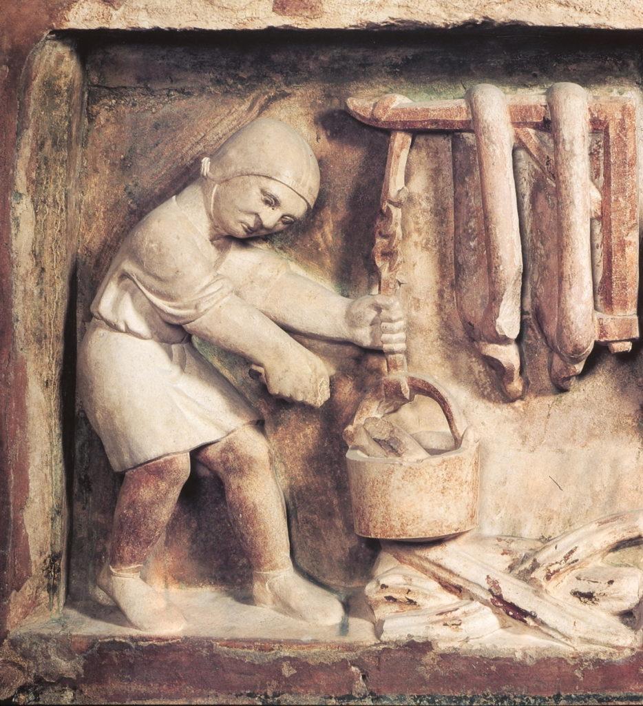 Benedetto Antelami, preparazione dei salumi, Battistero di Parma, XIII sec